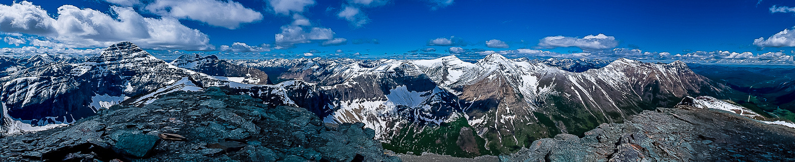 Incredible summit view from Gravenstafel includes, Haig, Tombstone, Packhorse, St. Eloi and Syncline (L to R).