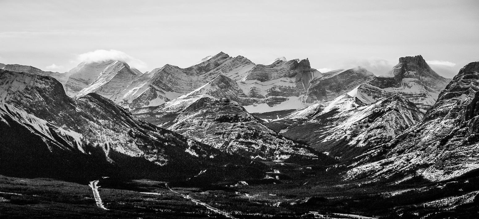 Looking across the Kananaskis Valley towards Limestone, Inflexible, James Walker, Spoon Needle and The Fortress (R to L).