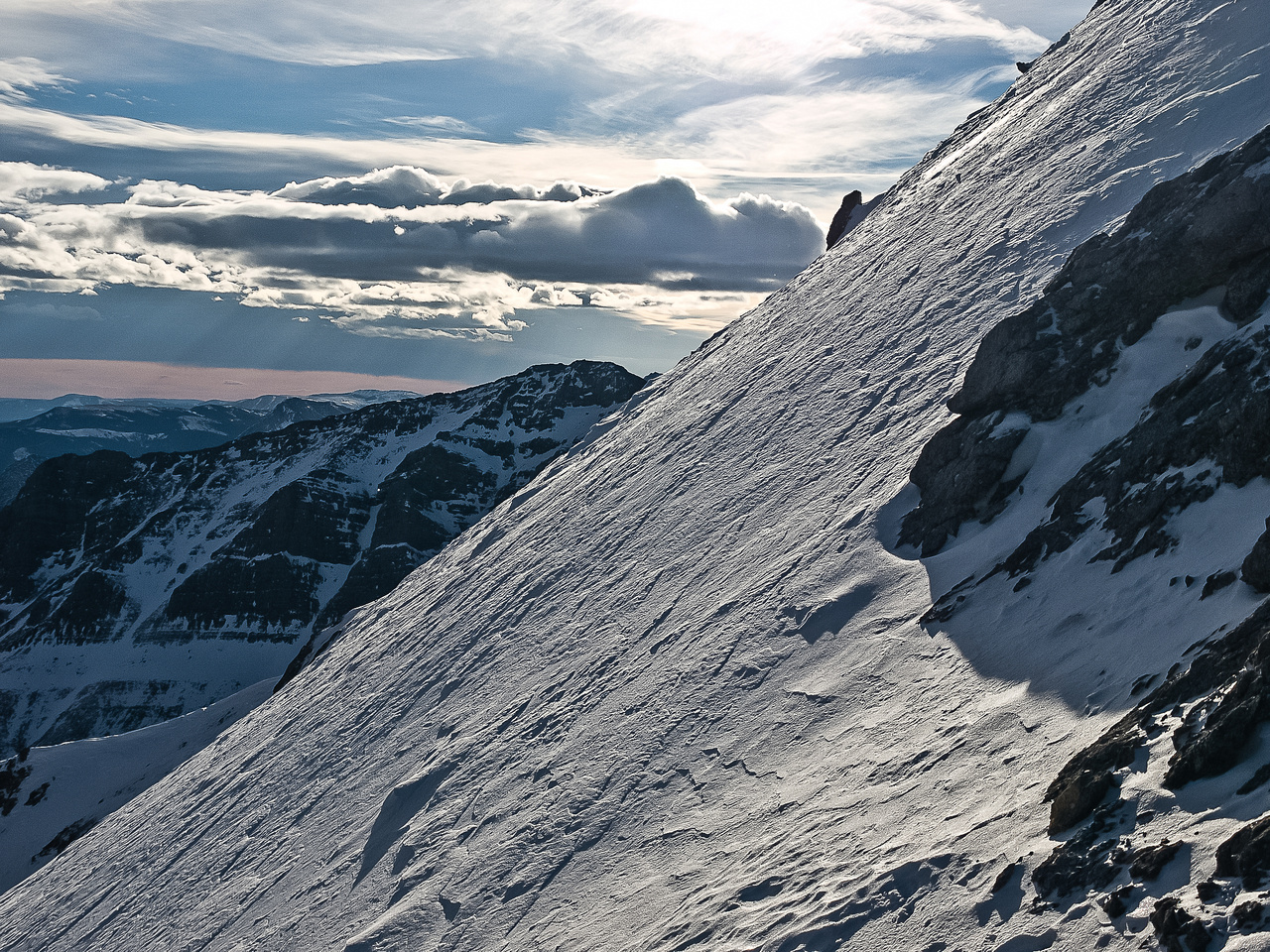 This is what we had to traverse on to get around the east side of the summit block. At least it was very firm!