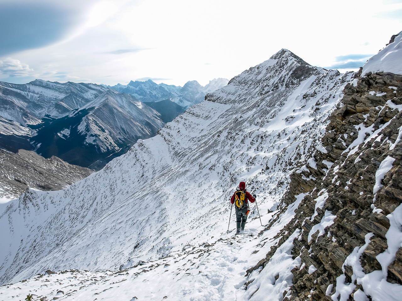 Traversing back to the top of the south scree bowl.