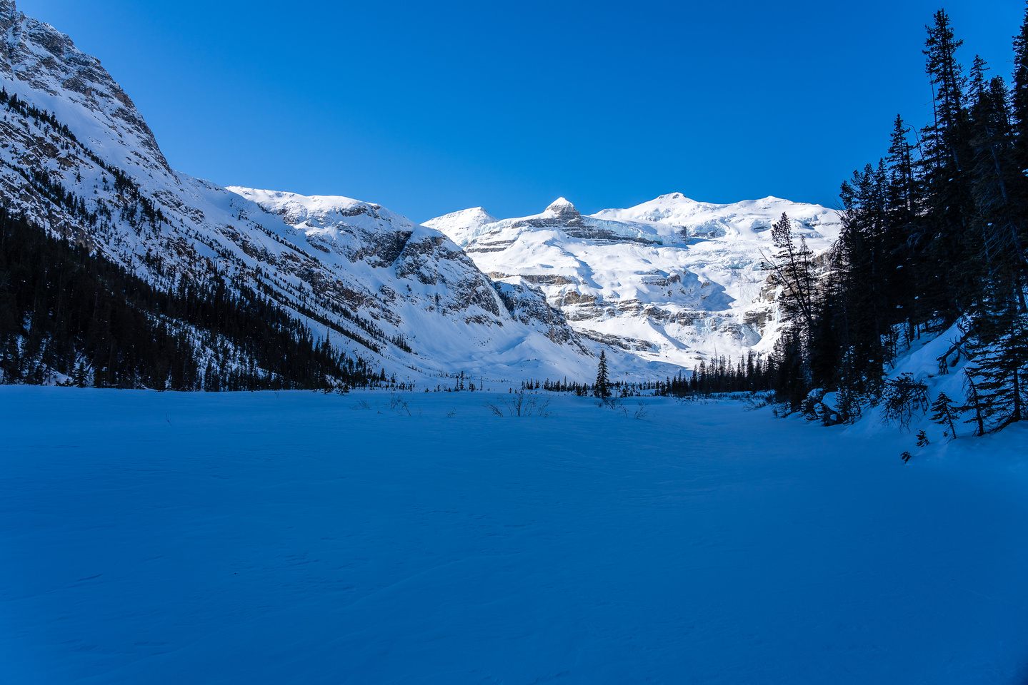 I skied here in 2010 when we exited the Waputik Glacier this way (from the left).