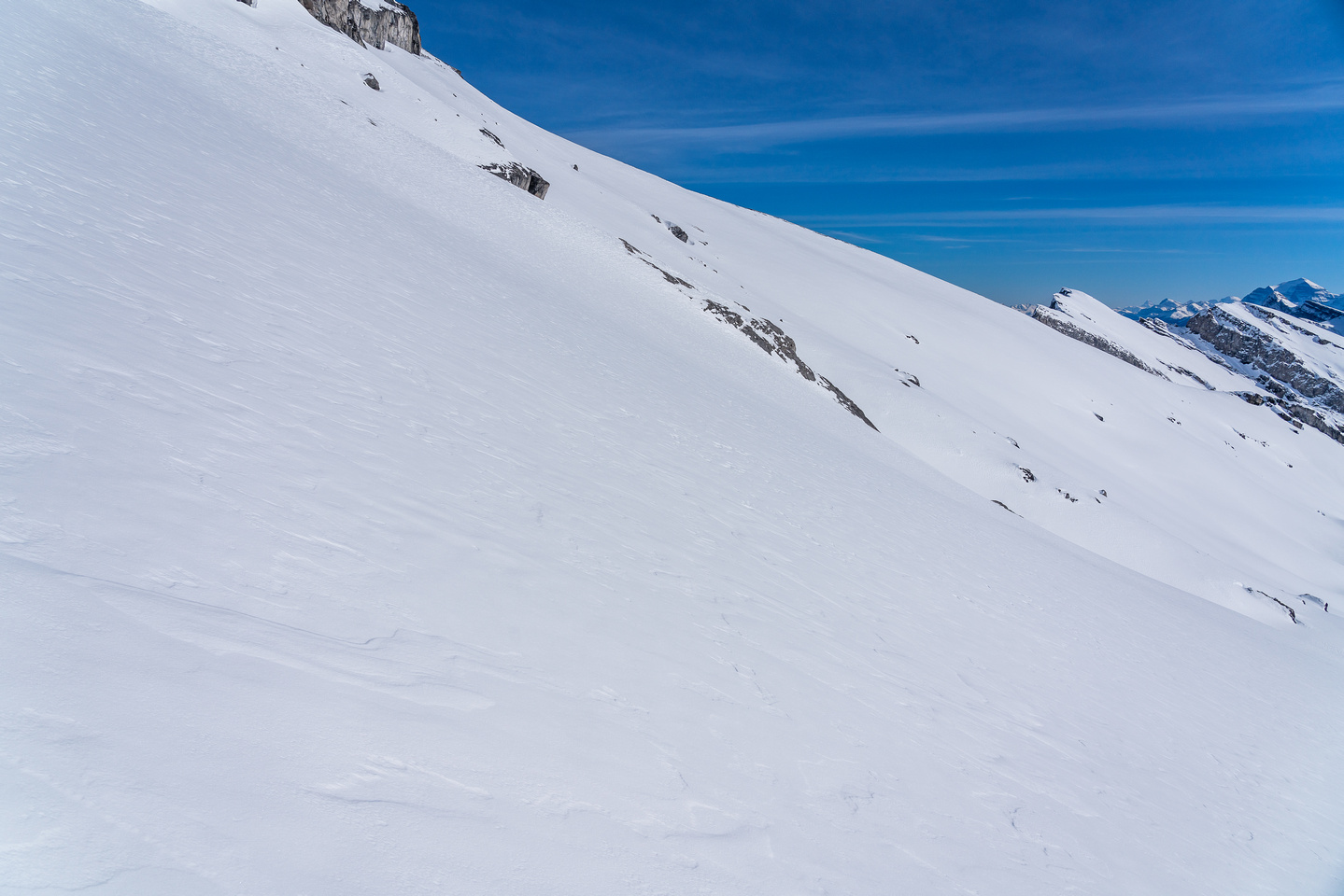 This is the slope angle on the summit block - not too steep but can still slide.