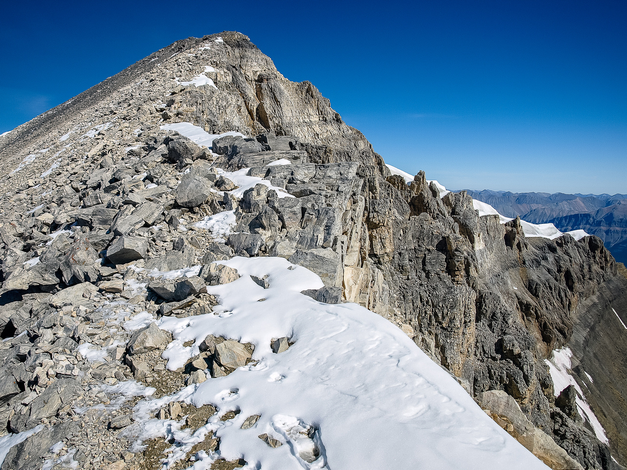 The summit ridge of Mount Temple.