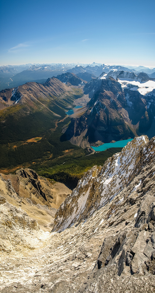 Looking down the dizzying SE face of Temple towards Consolation Lakes and Panorama Ridge.