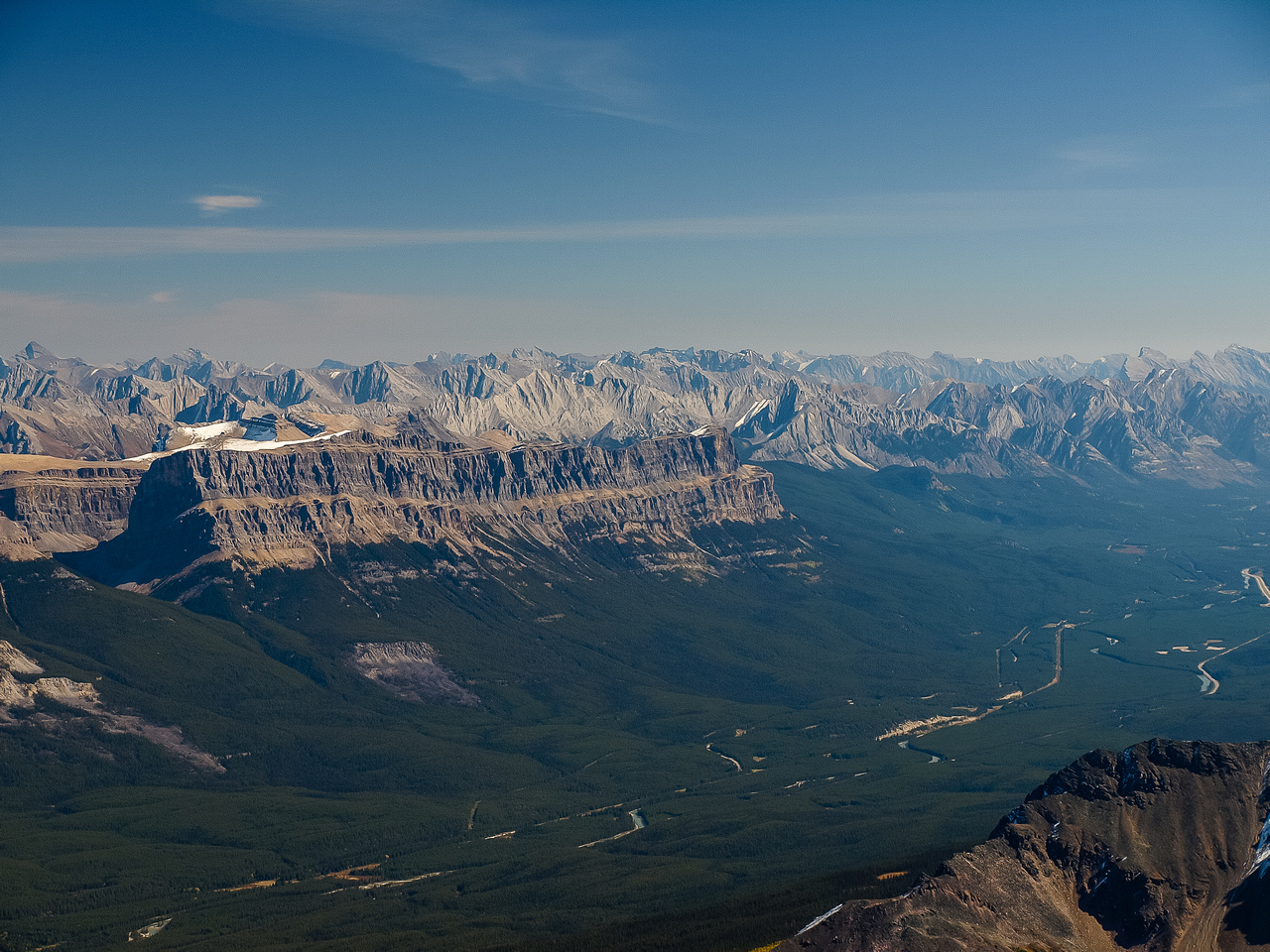 A wonderful view from my perch, of Castle Mountain and Bow Valley favorites like Aylmer and Rundle visible.