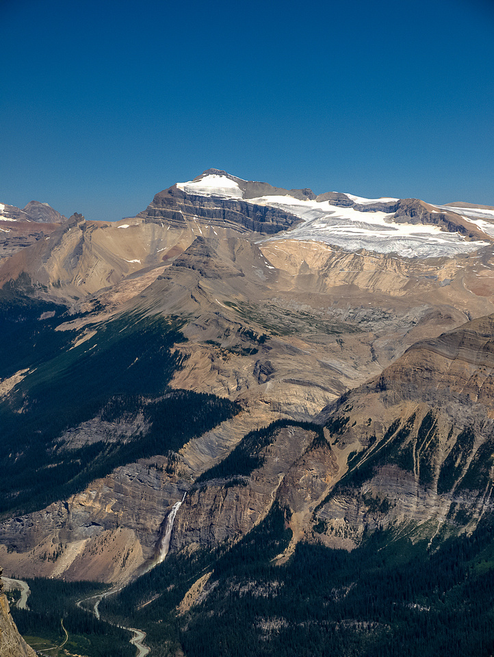 Takkakkaw Falls at lower left and the mighty Mount Balfour - king of the Wapta - looming above Trolltinder.
