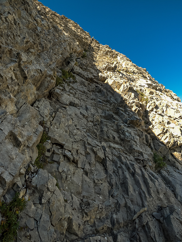 Looking up a difficult section on the east face.