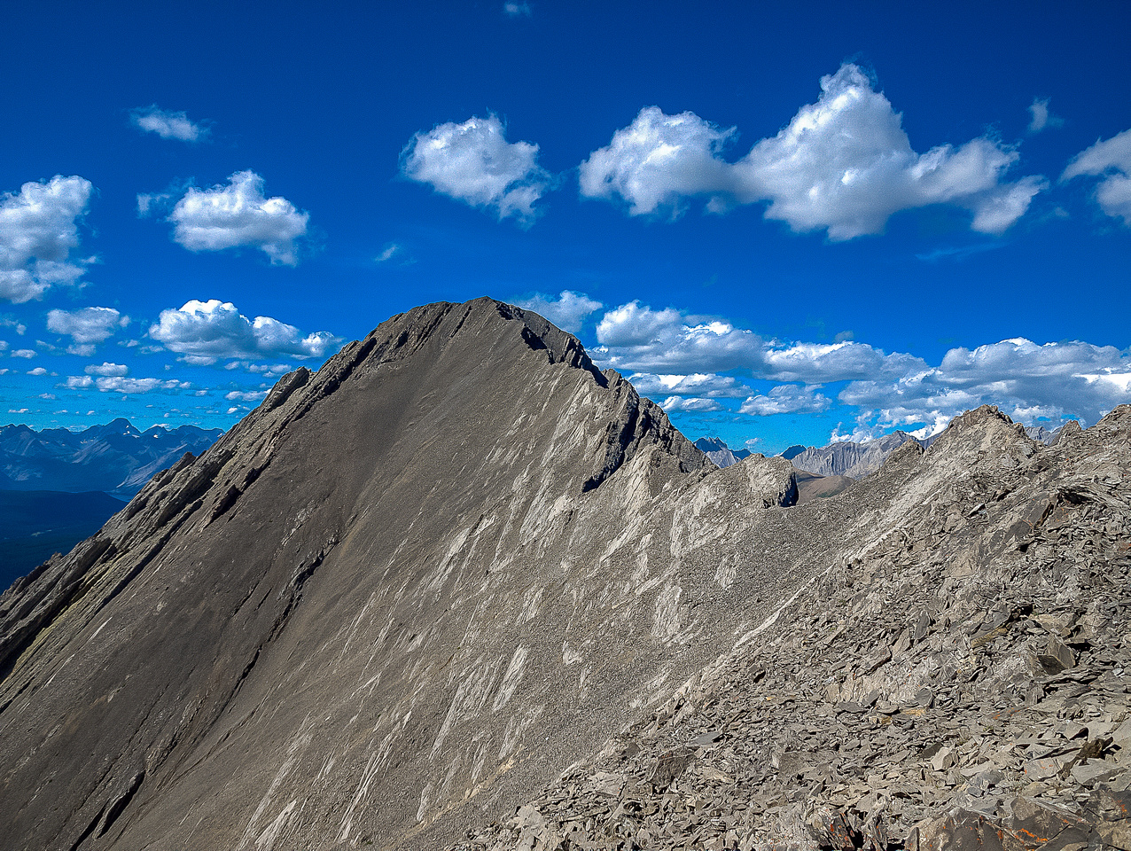 Off the east face, looking towards the summit of Storelk.