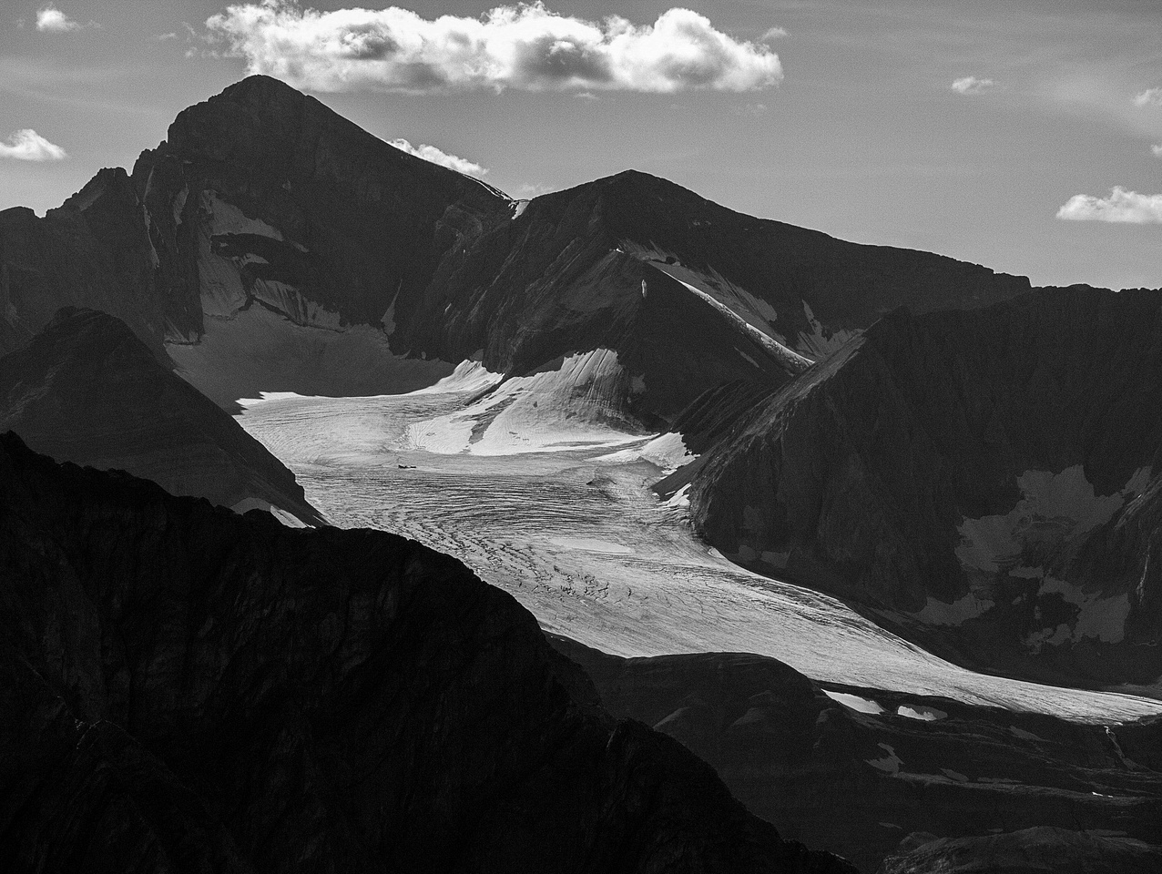 Looking up the Nivelle Glacier at Mount Joffre.
