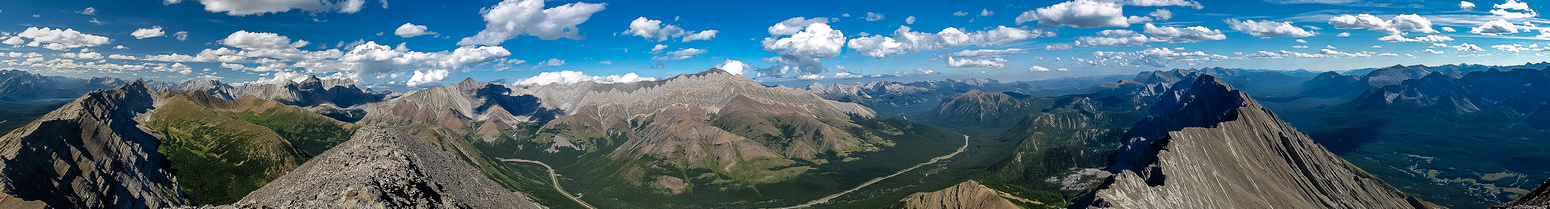 A huge summit panorama of the Highwood Pass area.