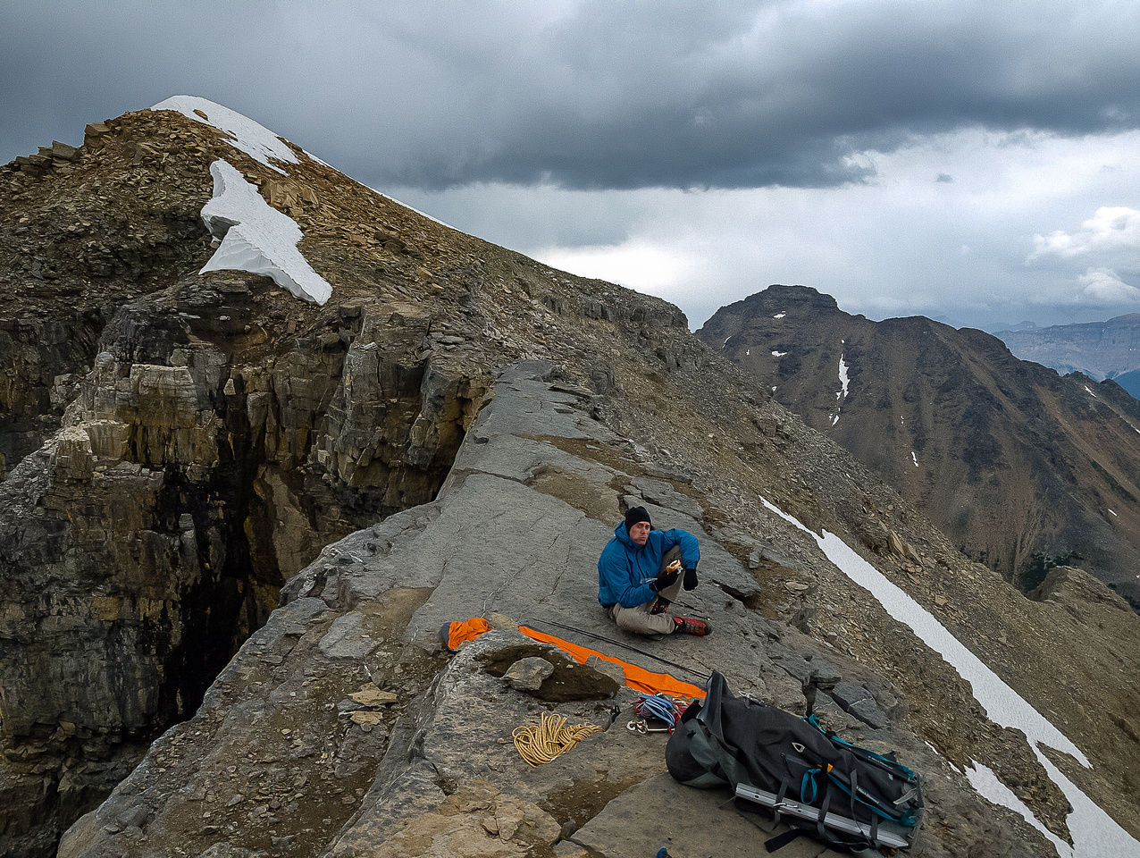 At our bivy on the east ridge of Bident Mountain.