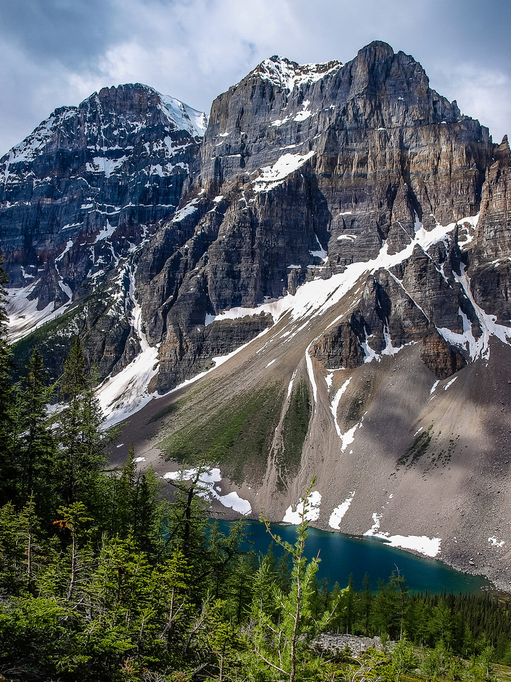 Mount Fay rises dramatically over Consolation Lakes.