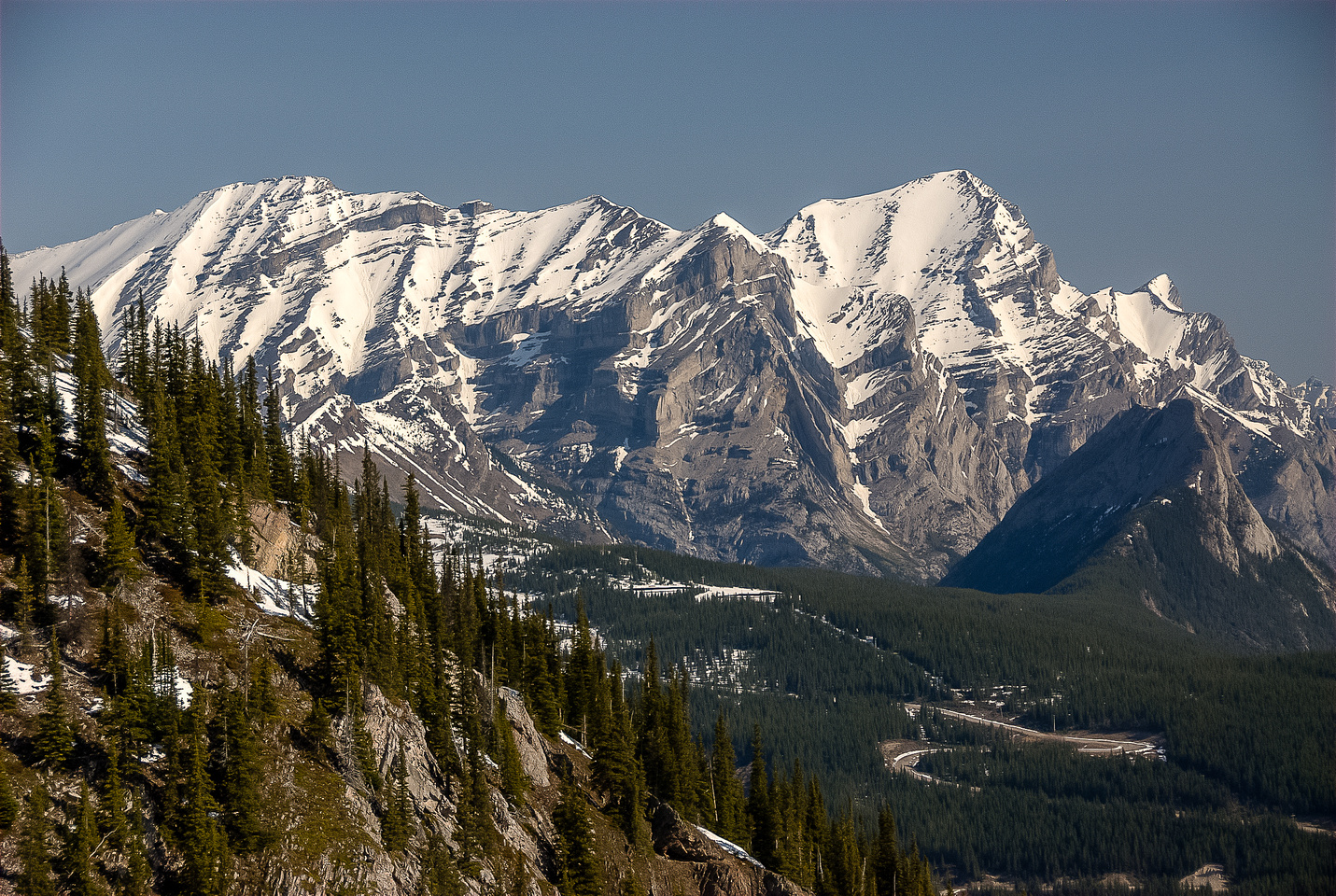 Great views of Mount Kidd's south (L) and north (R) summits from the waterfall drainage.