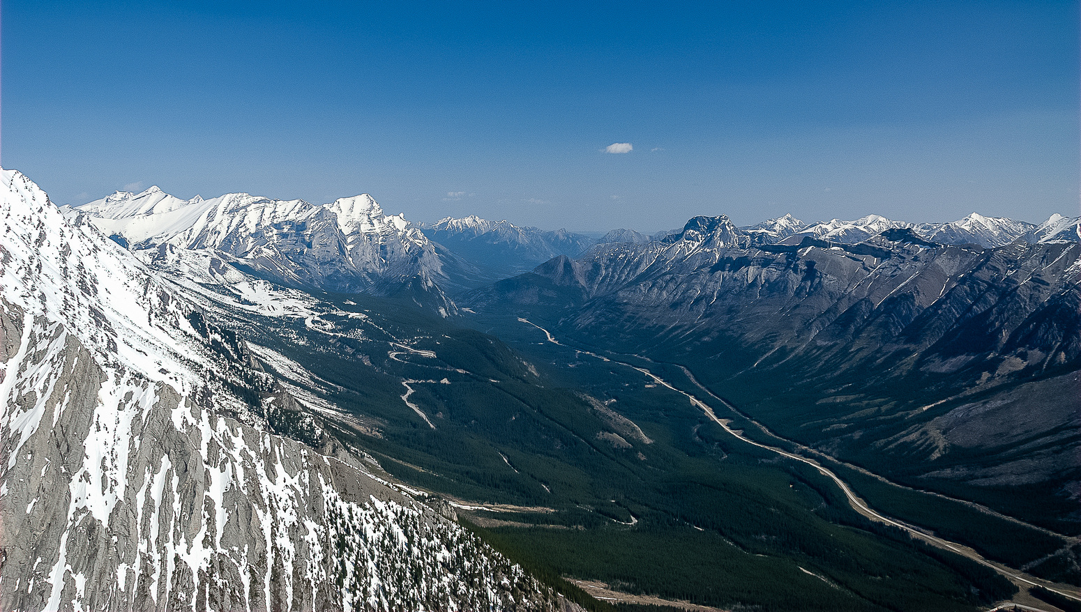 Great views up hwy 40 towards Kananaskis Village from the col.