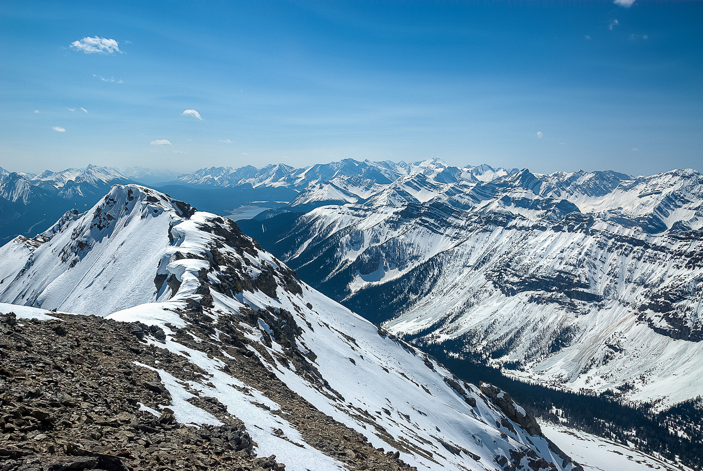 Sublime views south over the Kananaskis Lakes area with Highwood Pass just out of sight to the left.