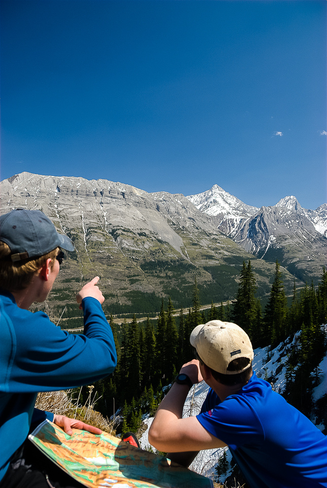 Pointing out Opal Range peaks on a break beneath the large avy slopes.