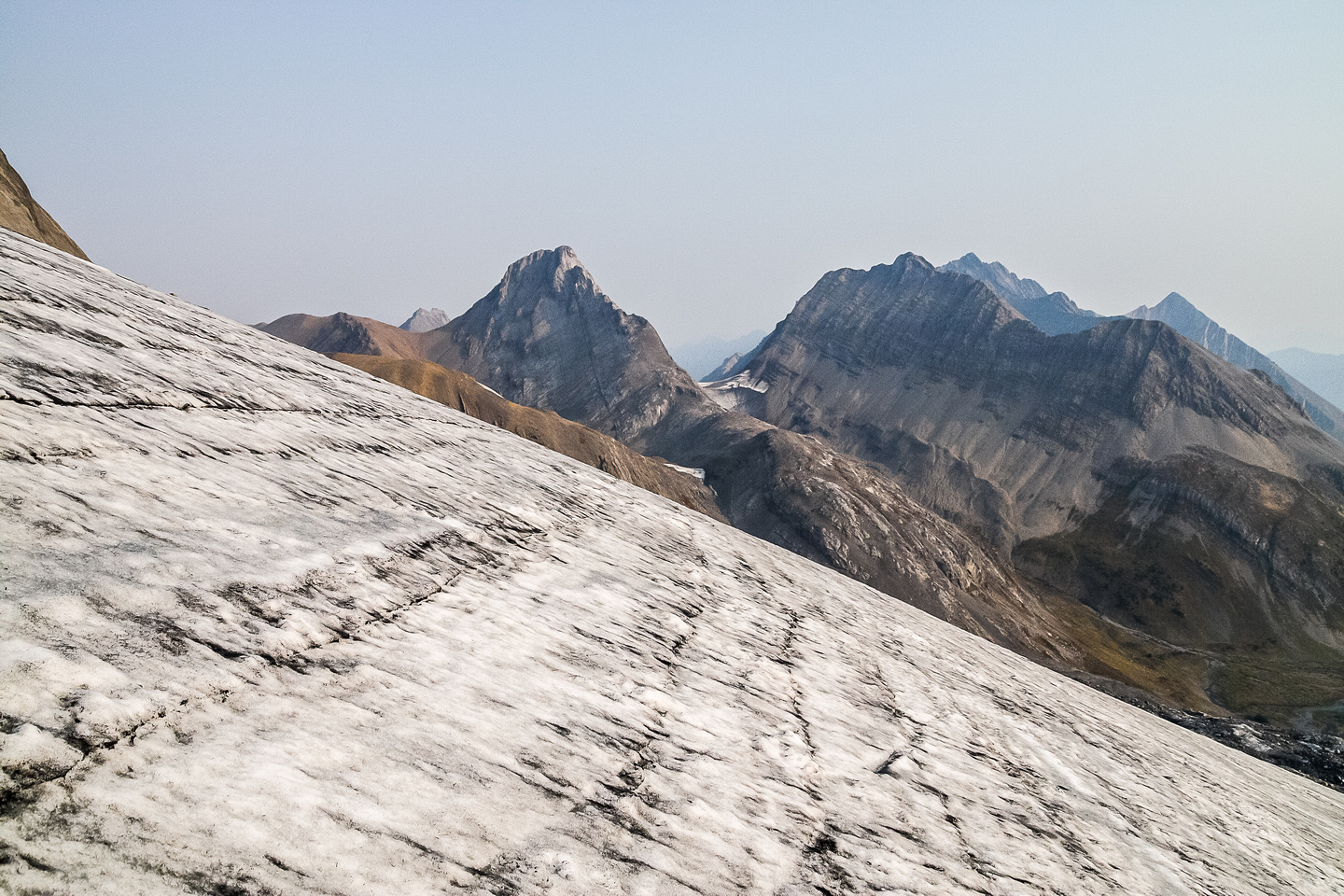 Looking north off the gently angled glacier towards Northover.
