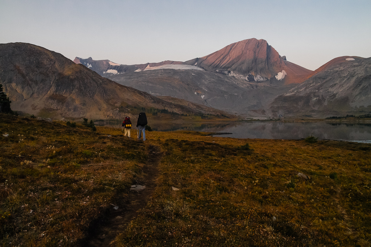 Leaving Aster Lake camp in early morning light towards Warrior Mountain, which we scrambled the day before.