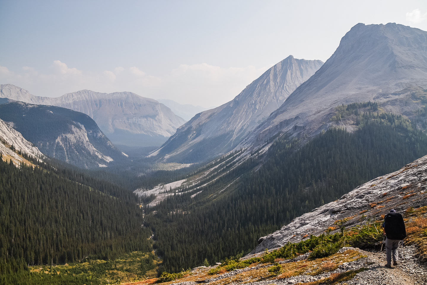 Incredible views from the top of the headwall down Three Isle Creek towards the Kananaskis River. Outliers of Lyautey on the right.