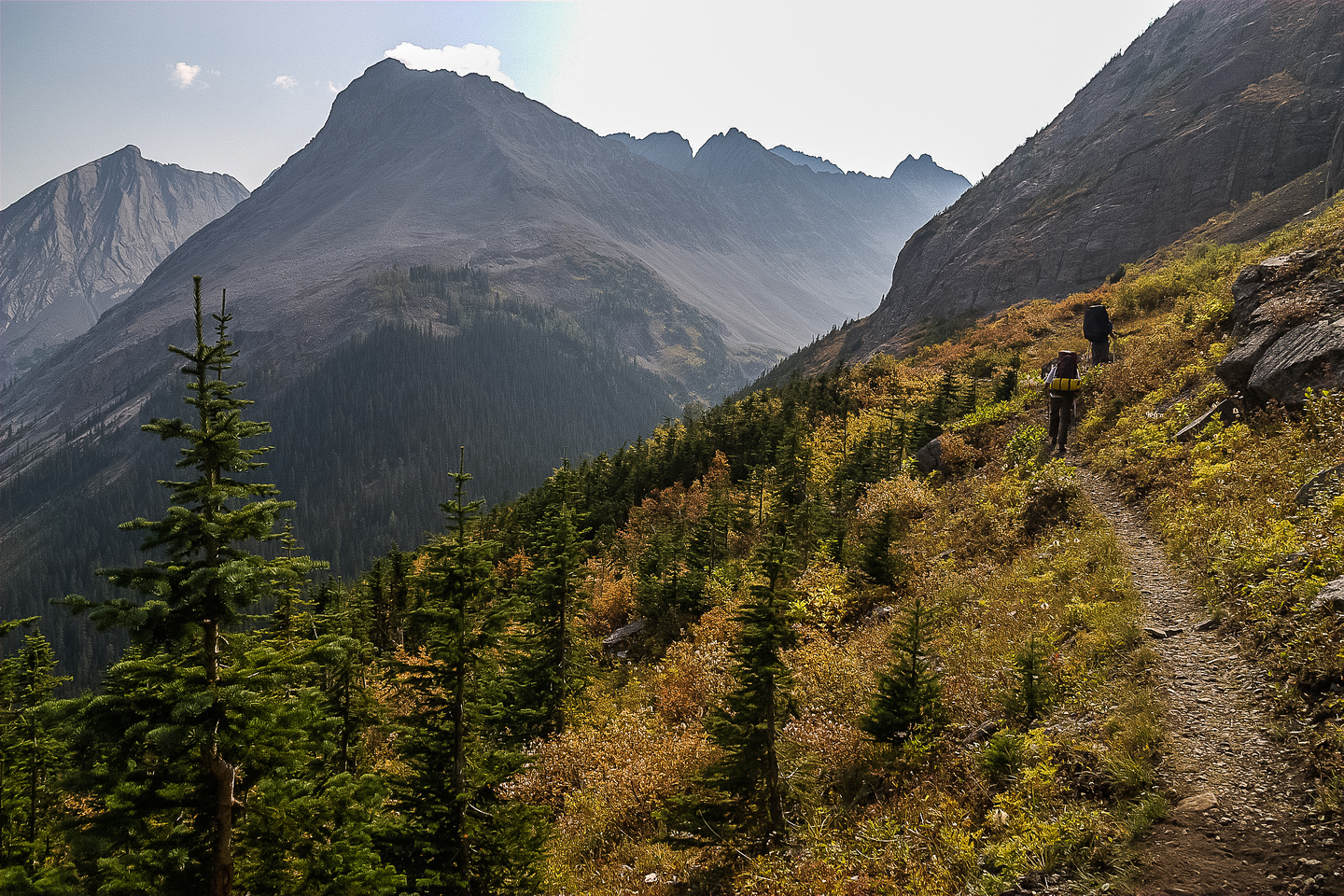 One of my favorite hiking sections from Three Isle to Upper Kananaskis Lake is above the headwall.