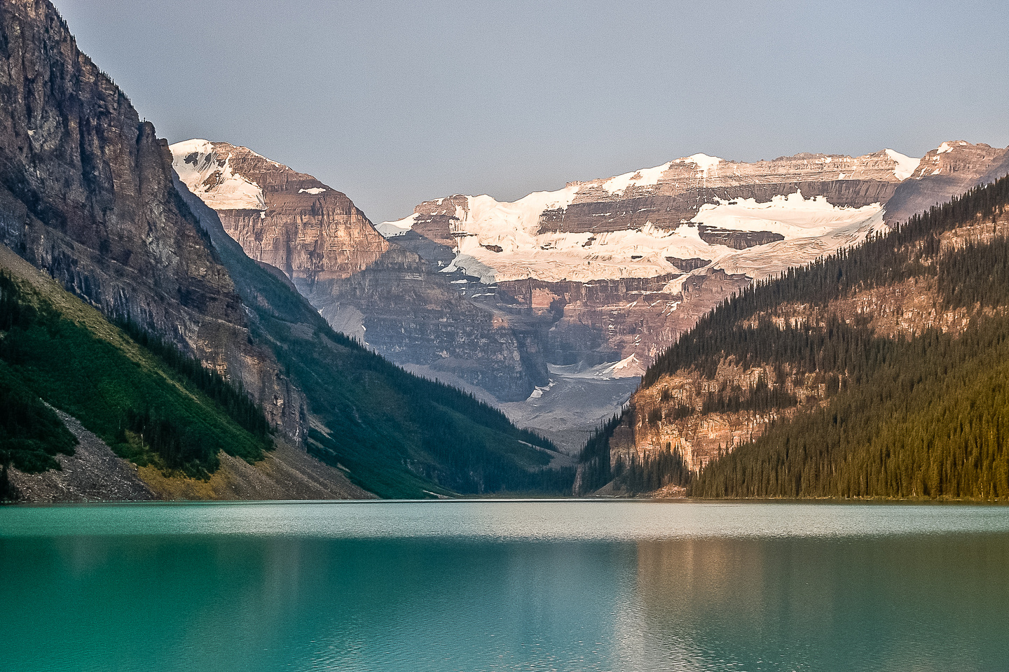 Mount Victoria and Lefroy in the morning light as I start my way around Lake Louise.