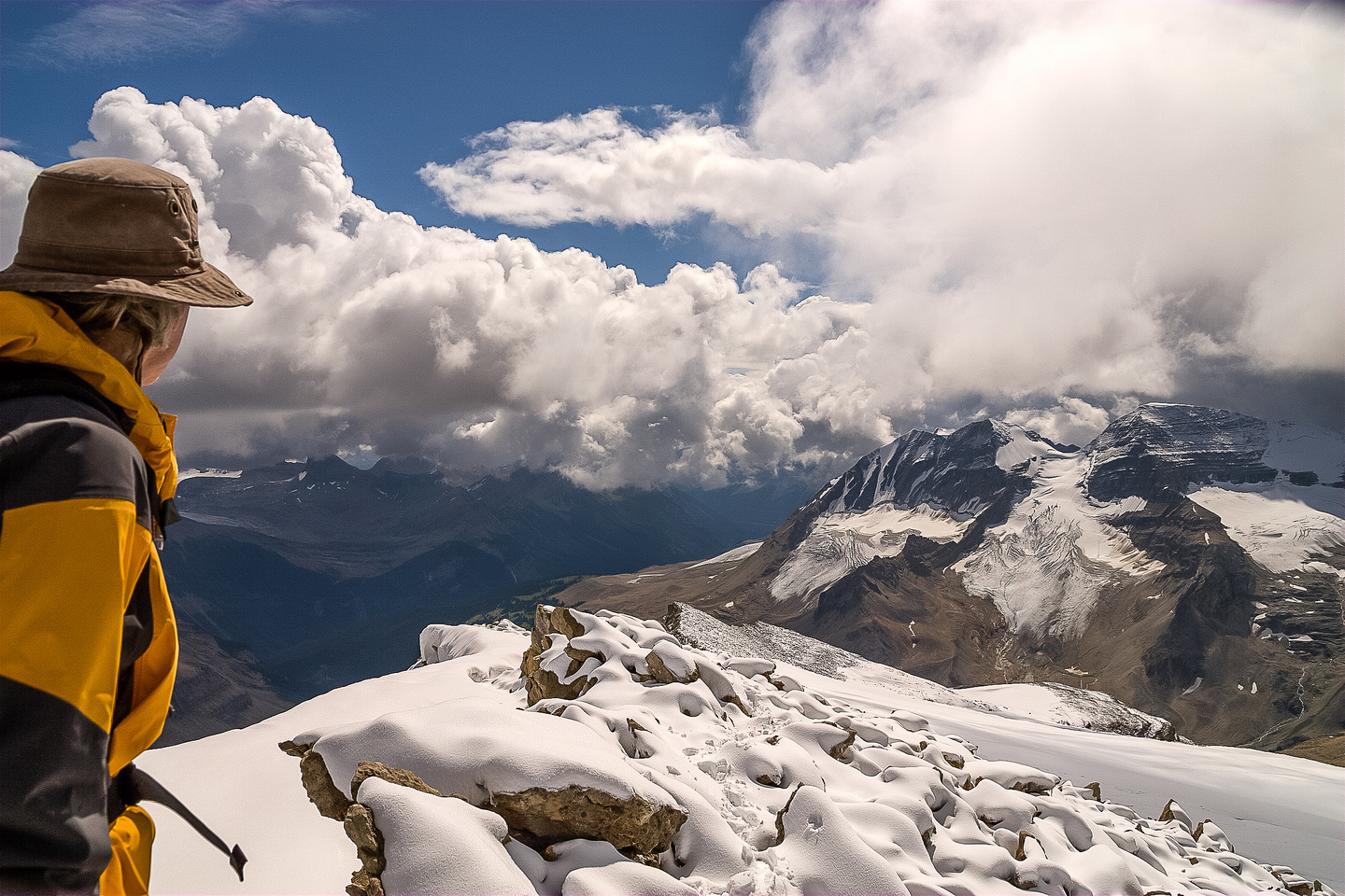 Bob on the summit of Mount McArthur, looking at the Presidents.