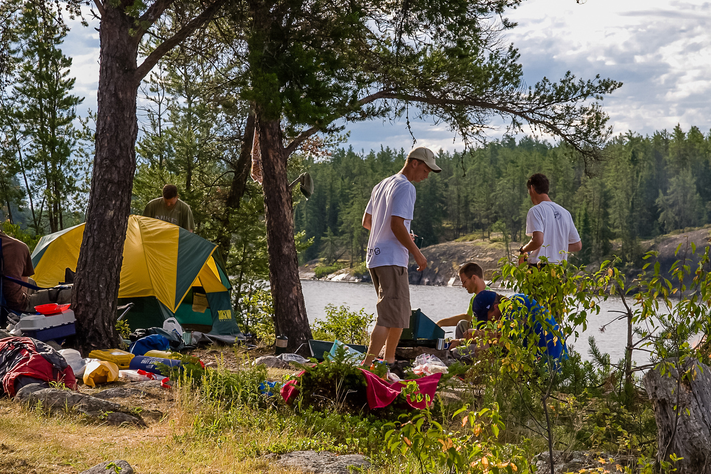 Breaking camp on Saturday morning on Wilson Lake.