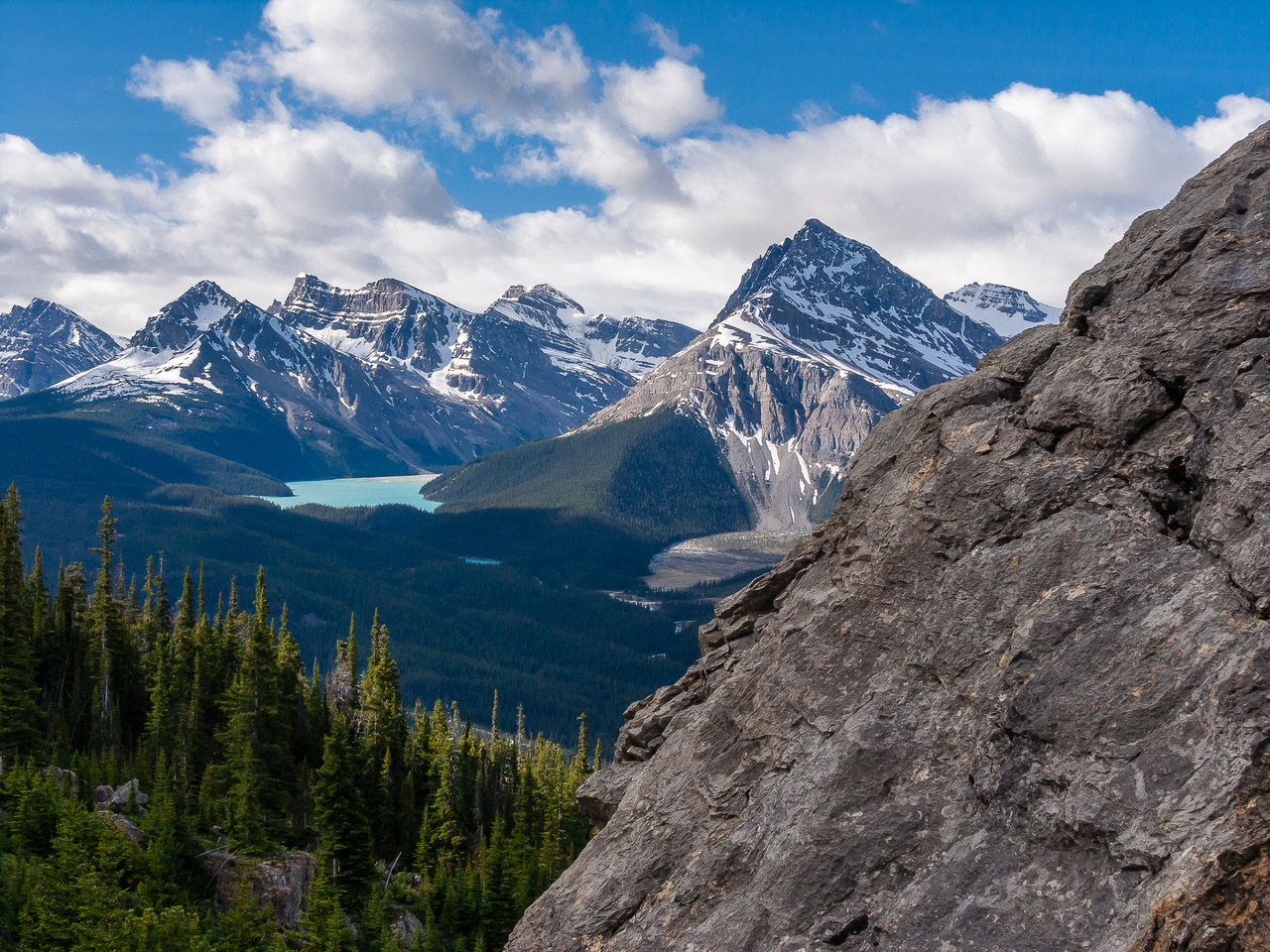 Looking down Peyto Lake at Jimmy Simpson and Mount Thompson.