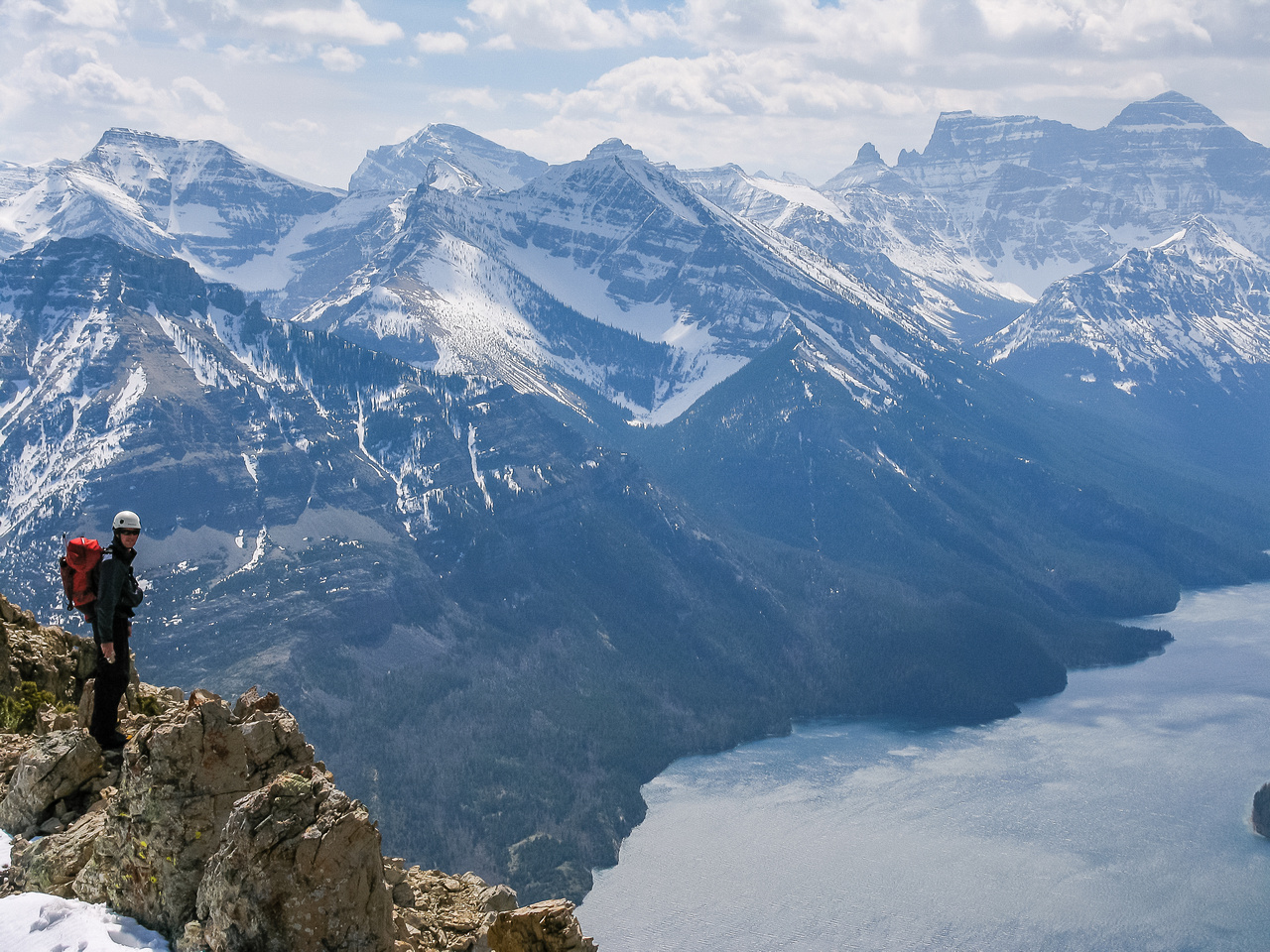 Raf on the south ridge with Cleveland and Waterton Lake in the bg.