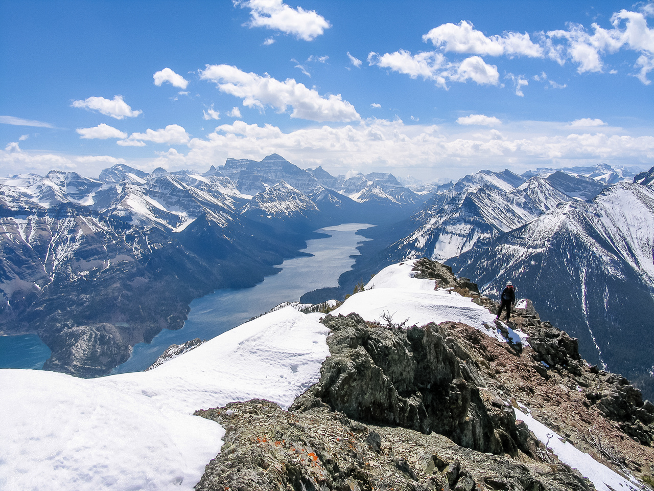 Views back down the south ridge over Waterton Lakes to Mount Cleveland.