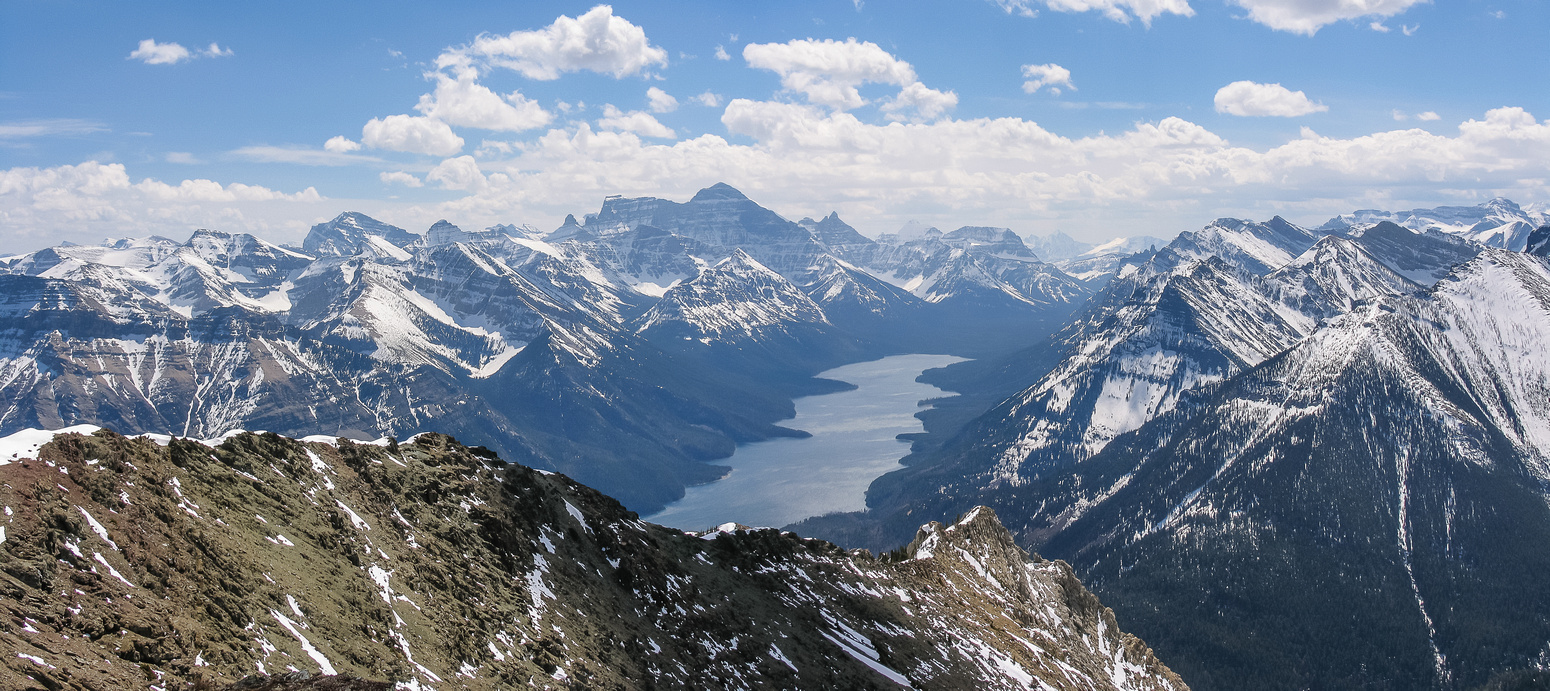 Upper Waterton Lake with Kaina (L), Cleveland, Cathedral, Campbell and Richards (R).