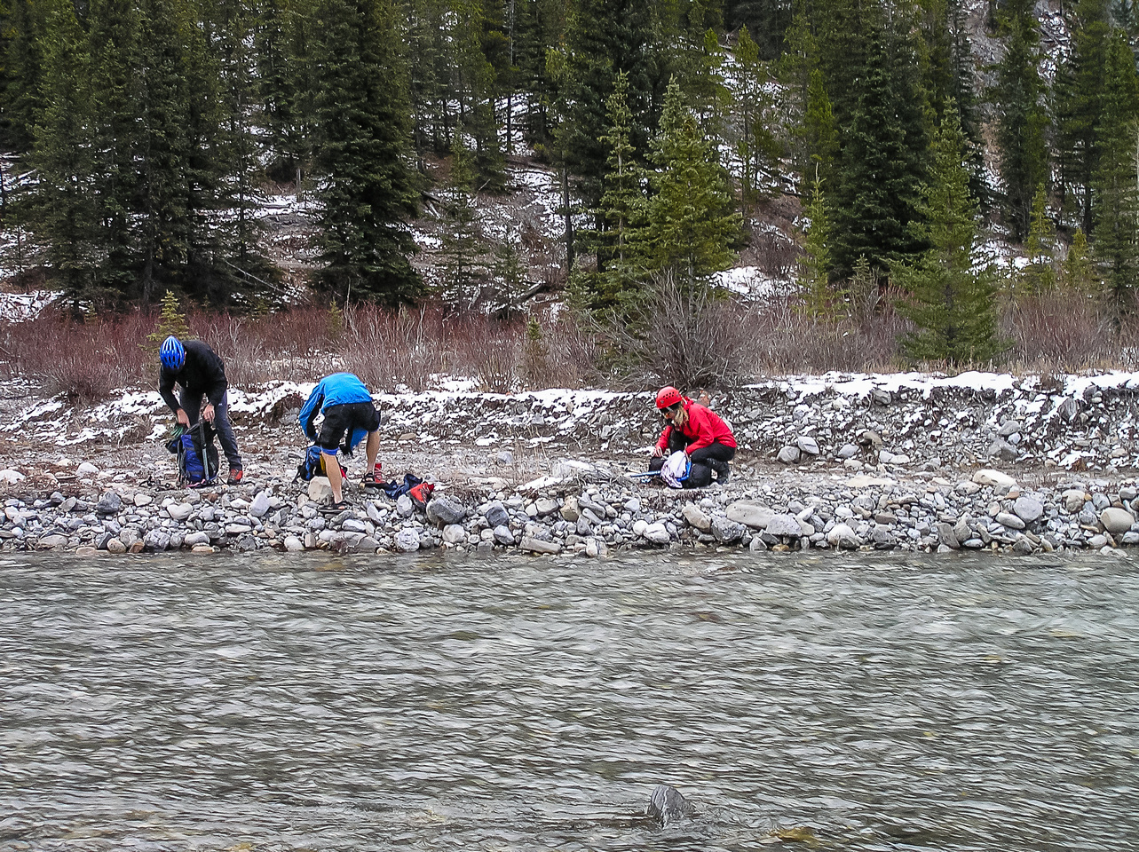 Crossing the Little Elbow River.