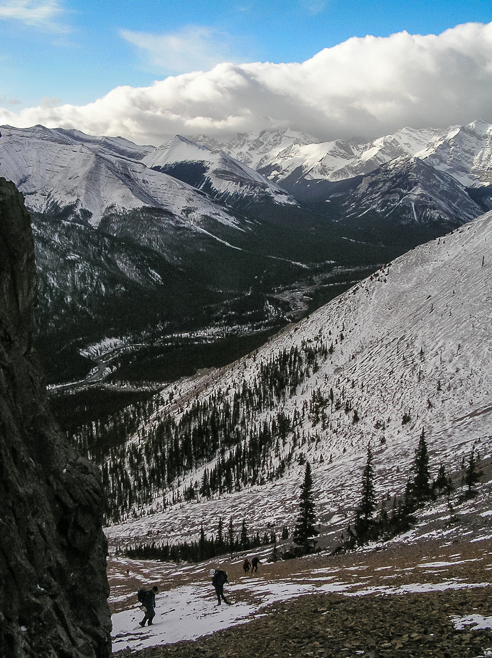 Ascending scree slopes from the Little Elbow River valley.