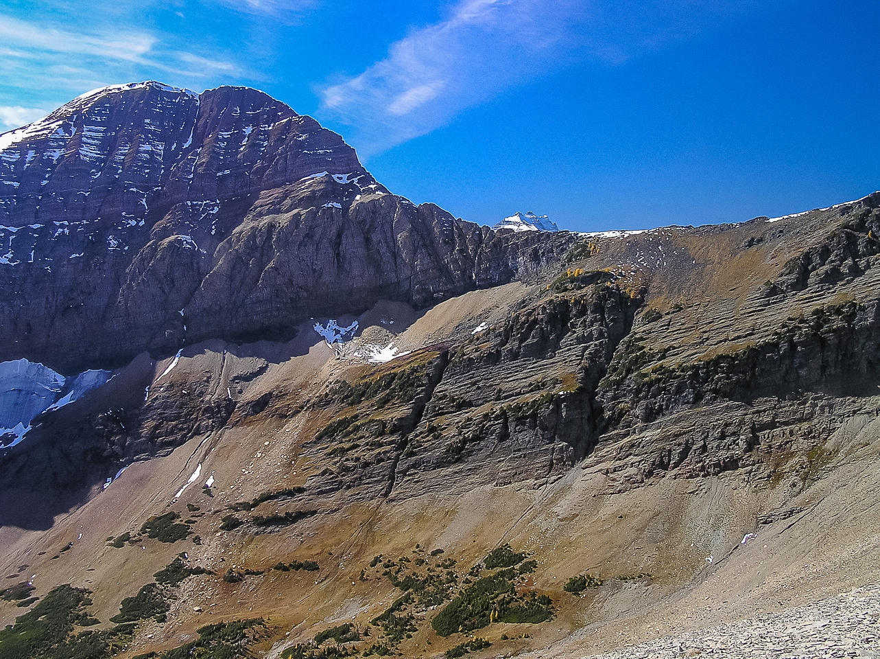 Mount Carthew's east face and the connecting ridge to Buchanan as seen from the ridge up to Buchanan Peak.