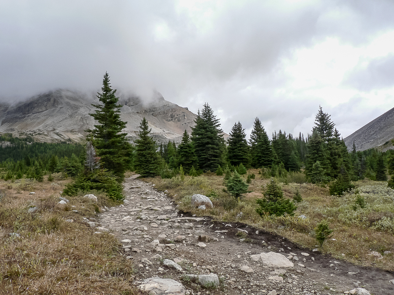 Hiking to the Hidden Lake Campground.