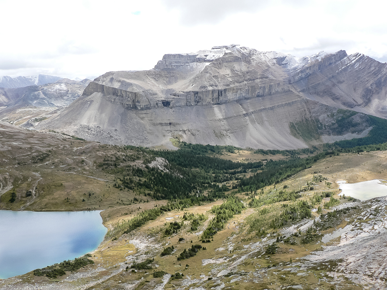 Starting our ascent of the south shoulder of Richardson from Hidden Lake looking over at Redoubt.