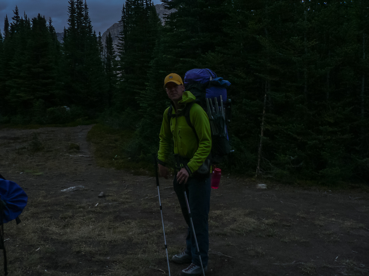 Preparing to hike out of our camp at Baker Lake in early morning light.