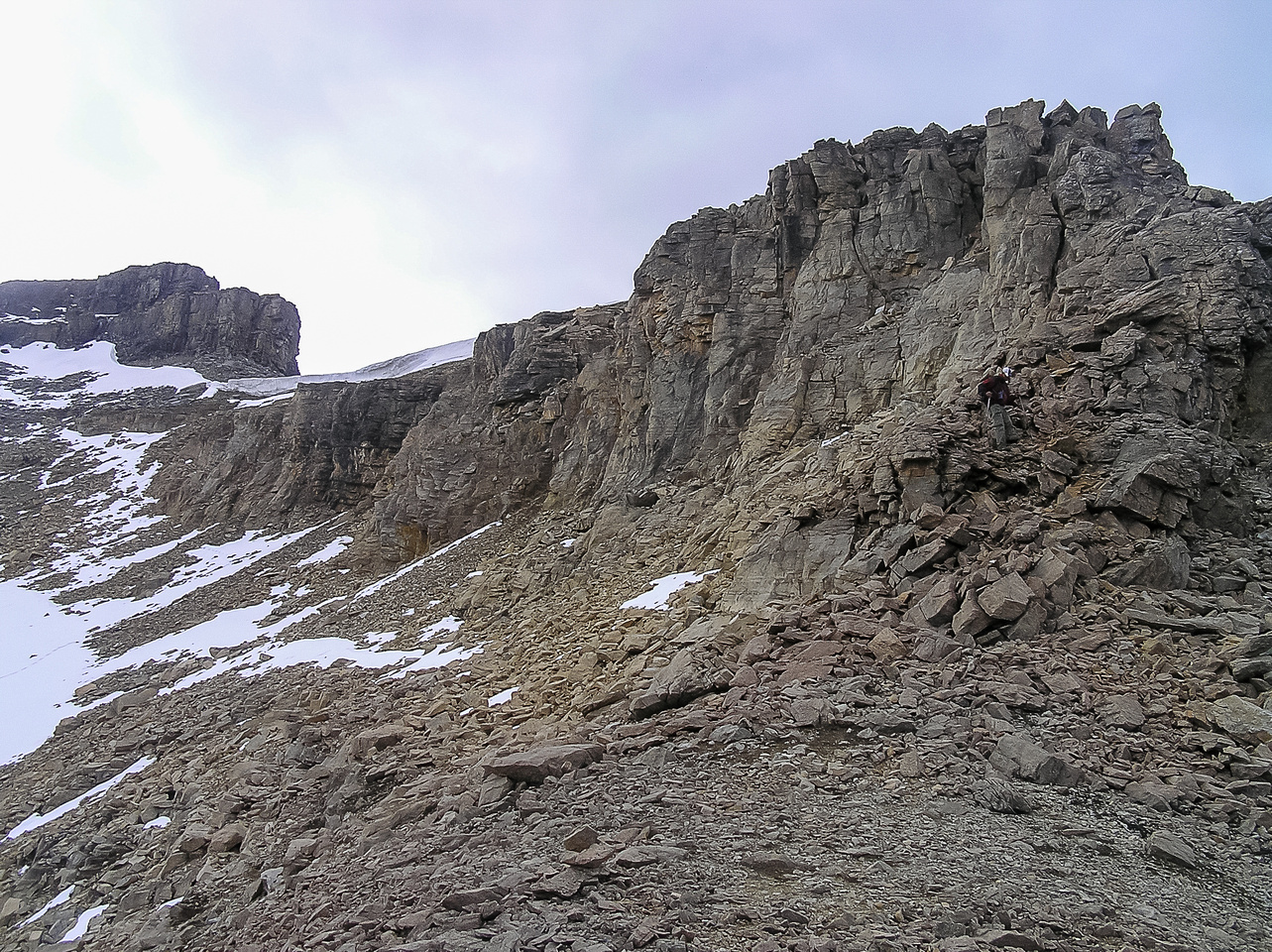 Across the bowl, looking up the NW ridge to the summit.