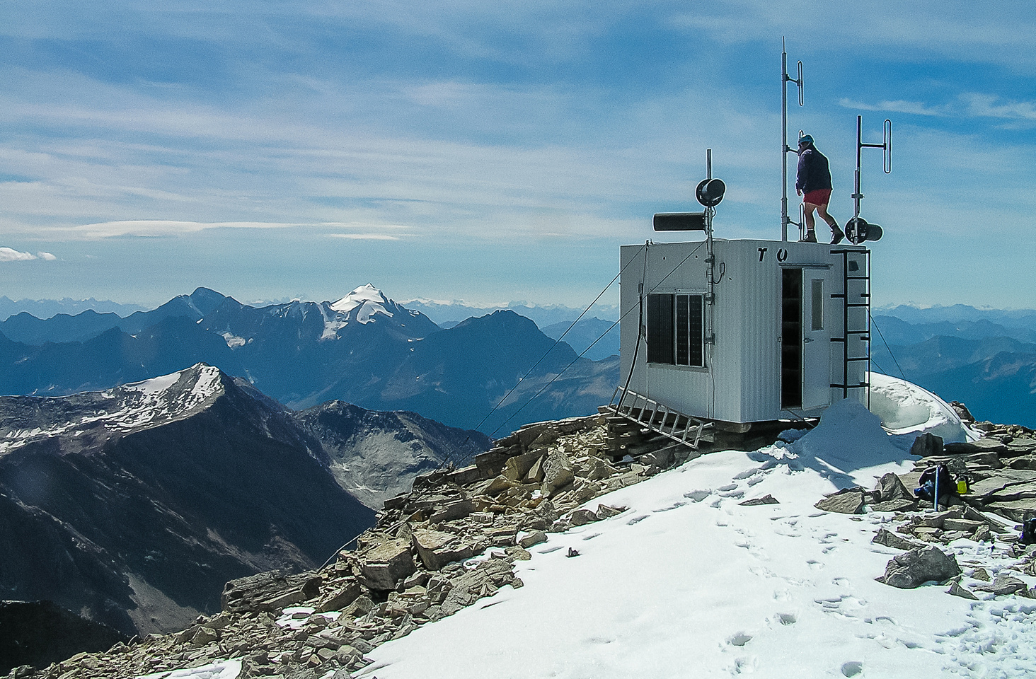The summit shack that holds the register among other things.
