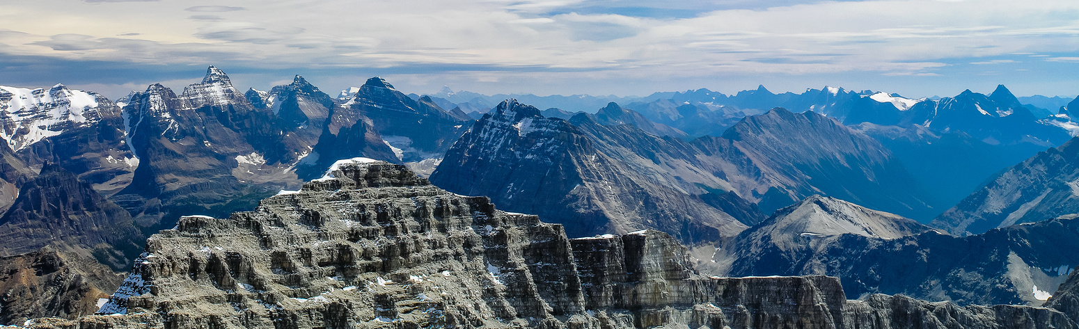 Incredible panorama from Hungabee (L) to Biddle (C) and Helmet (R).