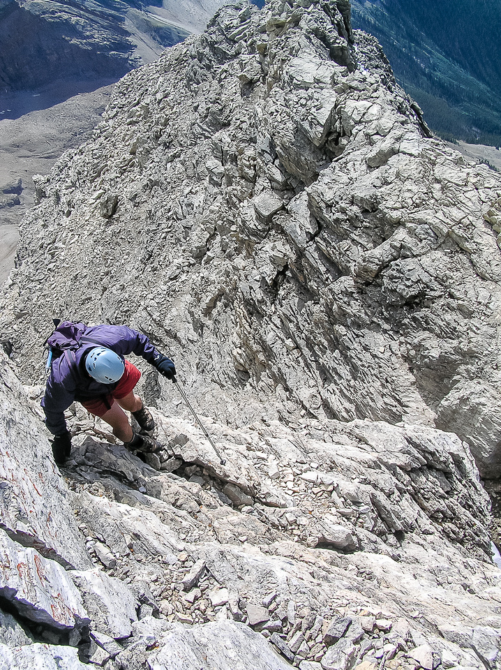 Descending the crux wall.