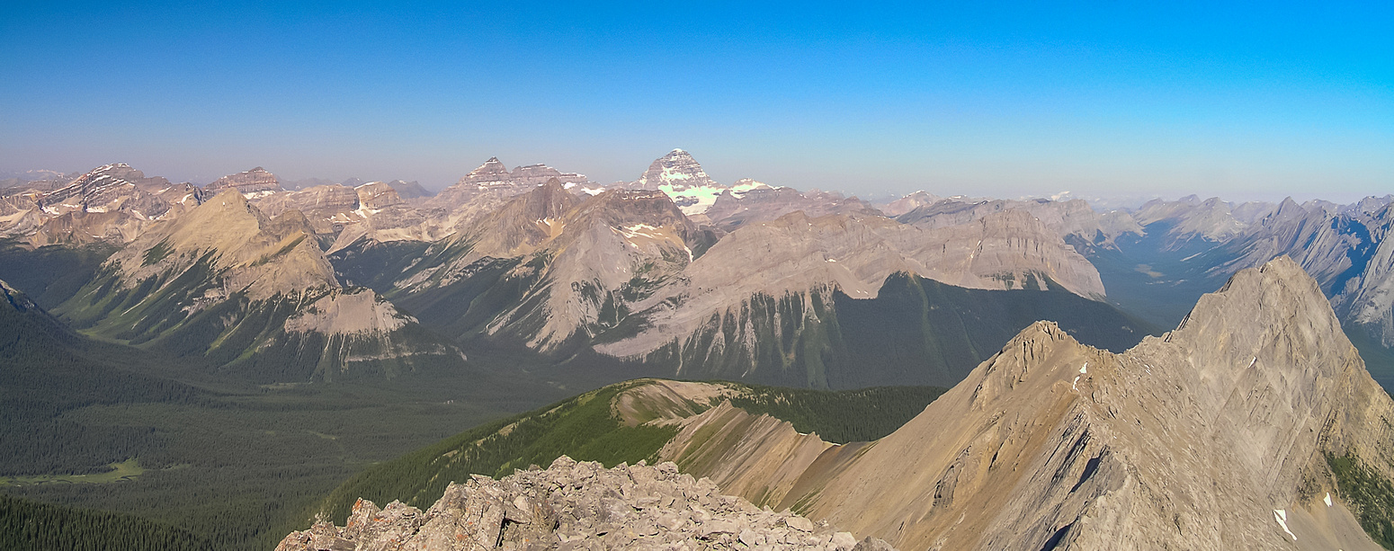 The mighty Mount Assiniboine shows up over Morrison and Turner. Mount Shark at lower right.