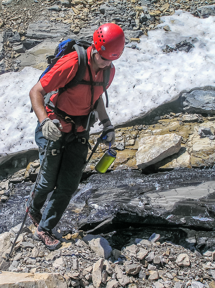 We had to cross some snow patches - at least there was plenty of melting water.