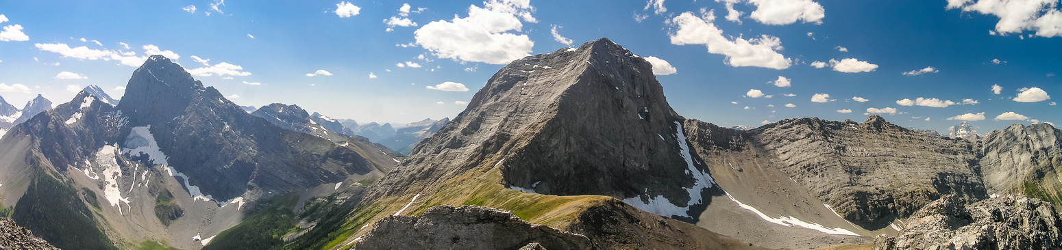 Gorgeous summit panorama includes L to R, Birdwood, Smuts and Mount Assiniboine.