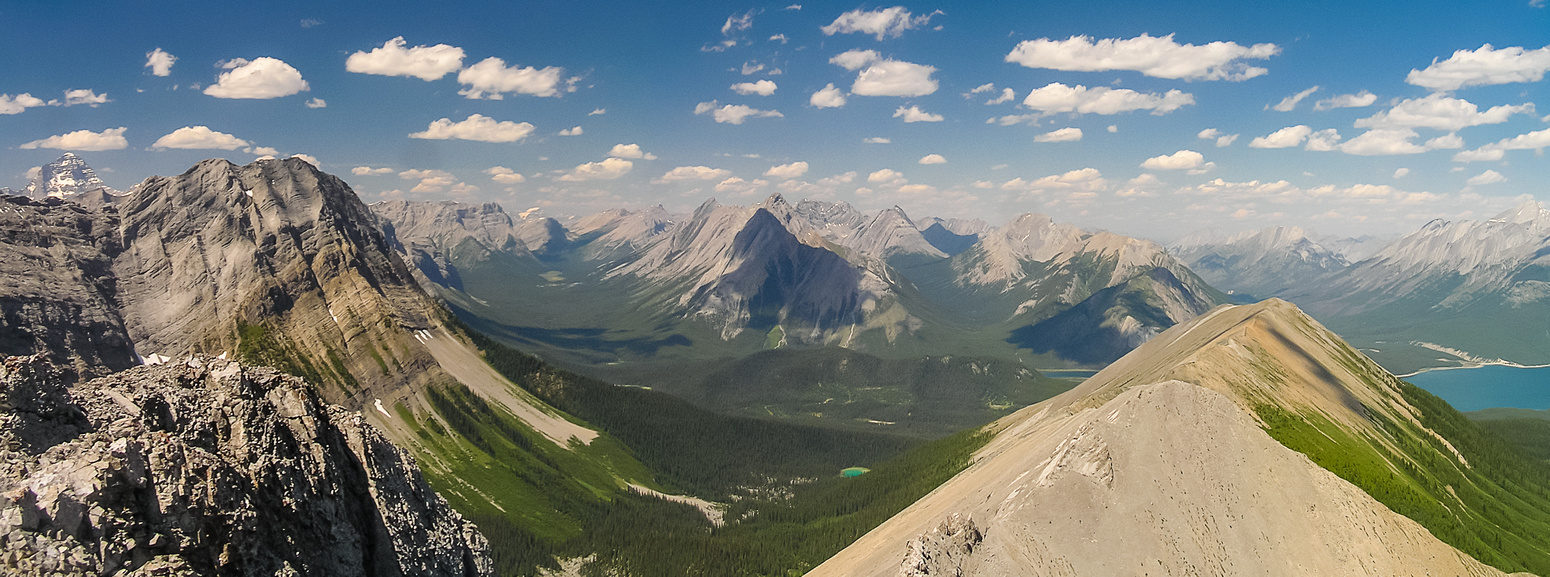 Looking between Shark (L) and Tent Ridge (R) up the Bryant Creek valley that is used to access Mount Assiniboine on the far left in the bg.