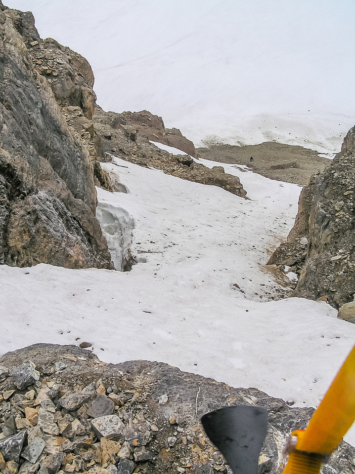 Looking back down a steep section of snow.