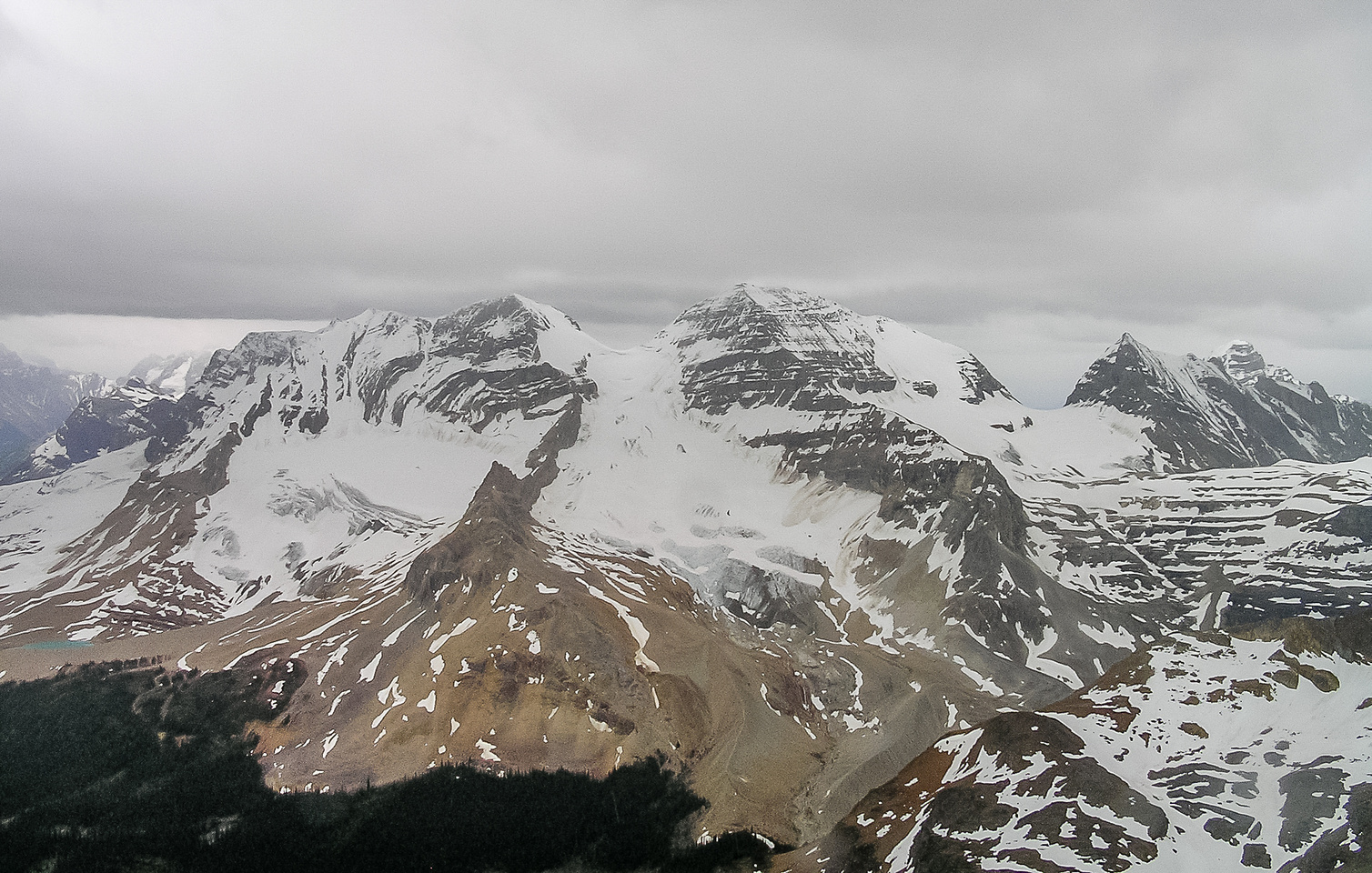 Views over the Little Yoho Valley towards the Presidents and Mount Marpole (R).