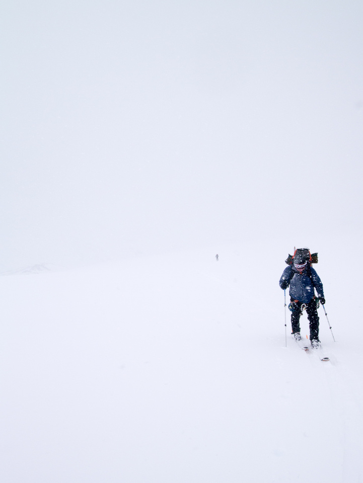 OK - THIS is a complete white out! Ascending Peyto Glacier.
