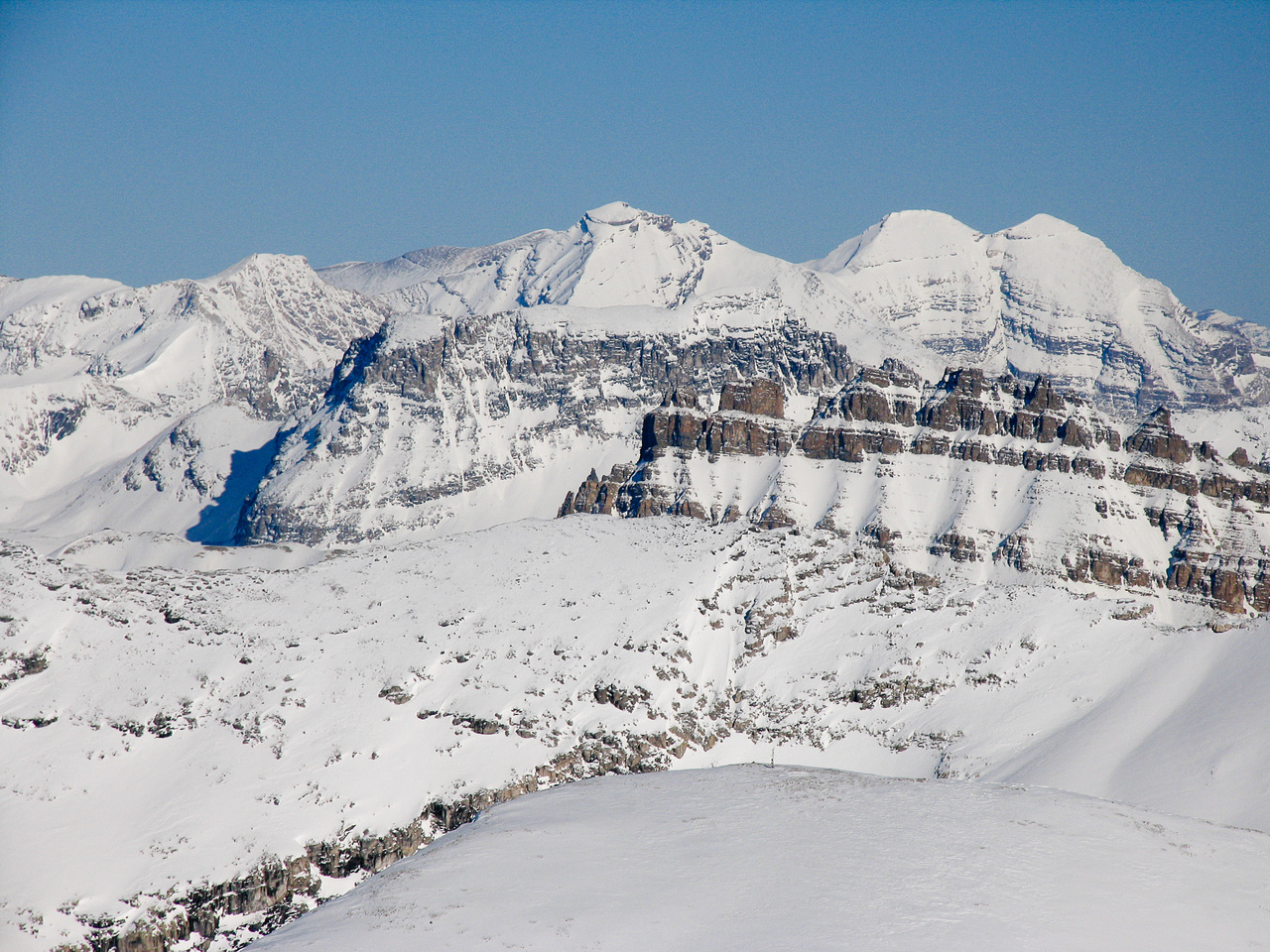 Willingdon, Crown and South Tower over Puzzle Peak and Dolomite.