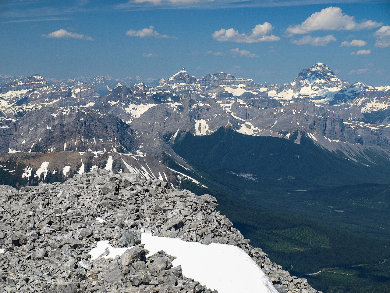 Slightly wider view towards Mounts Eon, Aye and Assiniboine (L to R).